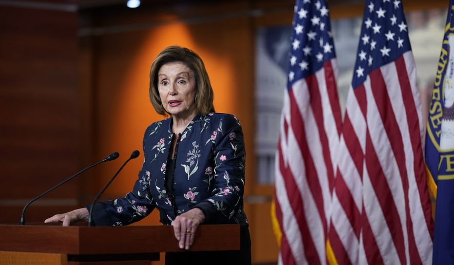 In this July 22, 2021, file photo Speaker of the House Nancy Pelosi, D-Calif., meets with reporters at the Capitol in Washington. (AP Photo/J. Scott Applewhite, File)