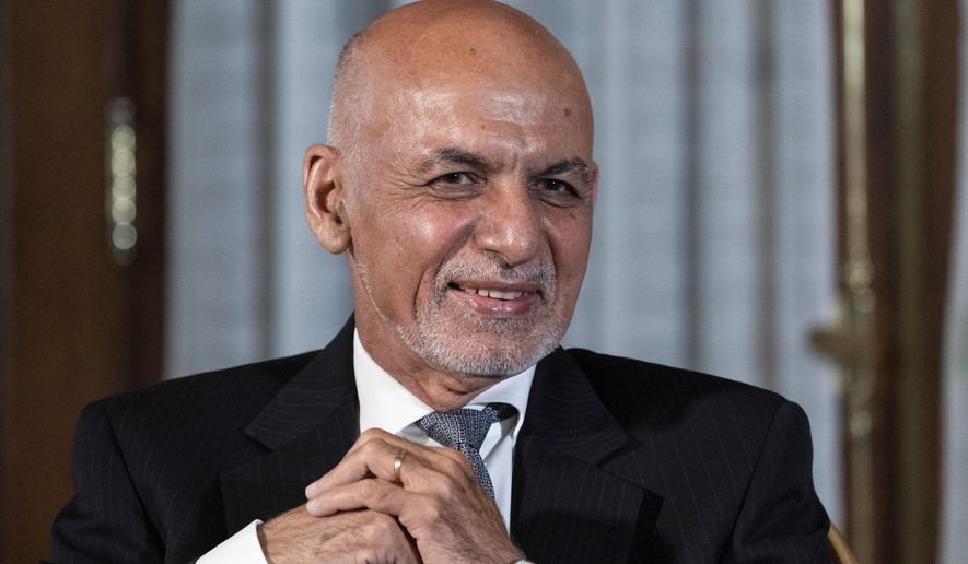 In this June 25, 2021, file photo, Afghan President Ashraf Ghani is seated after his meeting with President Joe Biden in Washington. (AP Photo/Alex Brandon, File)