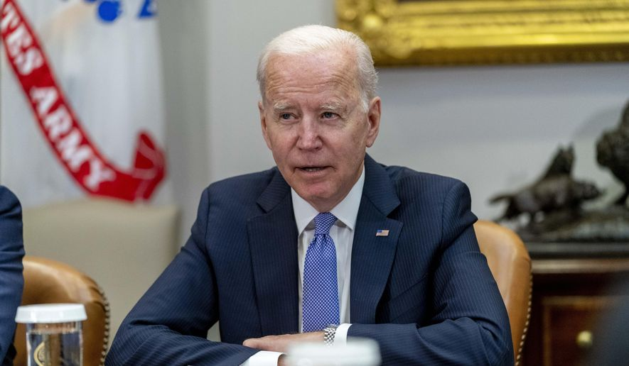 In this file photo, President Joe Biden speaks while meeting with union and business leaders to discuss the Bipartisan Infrastructure Framework, in the Roosevelt Room of the White House in Washington, Thursday, July 22, 2021. (AP Photo/Andrew Harnik)  **FILE**