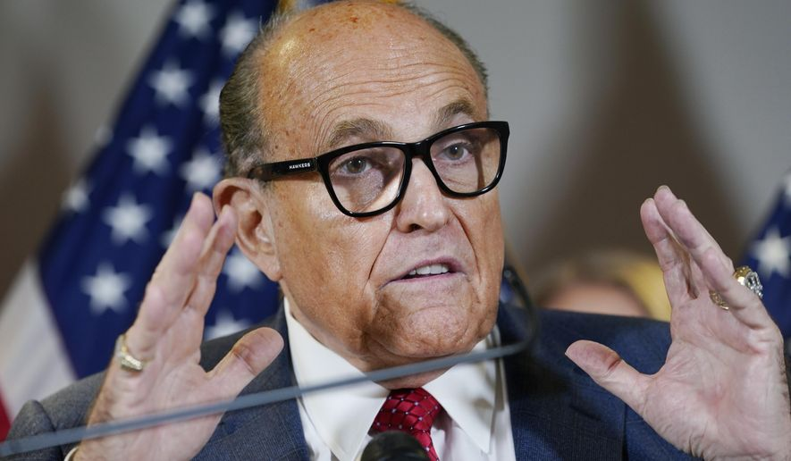In this Nov. 19, 2020, file photo, former New York Mayor Rudy Giuliani speaks during a news conference at the Republican National Committee headquarters in Washington. (AP Photo/Jacquelyn Martin, File)