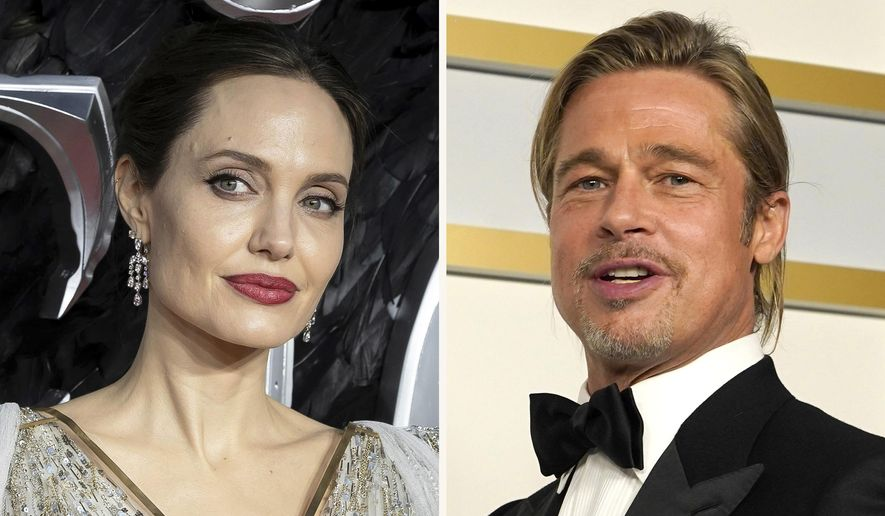 """In this combination photo, Angelina Jolie, left, arrives at the European Premiere of """"Maleficent Mistress of Evil"""" in central London on Oct. 9, 2019, and Brad Pitt poses in the press room at the Oscars on April 25, 2021, in Los Angeles. A California appeals court on Friday, July 23, 2021, disqualified a private judge being used by Angelina Jolie and Brad Pitt in their divorce case, handing Jolie a major victory. (AP Photo)"""