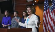 Speaker of the House Nancy Pelosi, D-Calif., announces her appointments to a new select committee to investigate the violent Jan. 6 insurrection at the Capitol, including from left, Rep. Elaine Luria, D-Va., Rep. Jamie Raskin, D-Md., and Rep. Stephanie Murphy, D-Fla., on Capitol Hill in Washington, July 1, 2021. (AP Photo/J. Scott Applewhite) ** FILE **