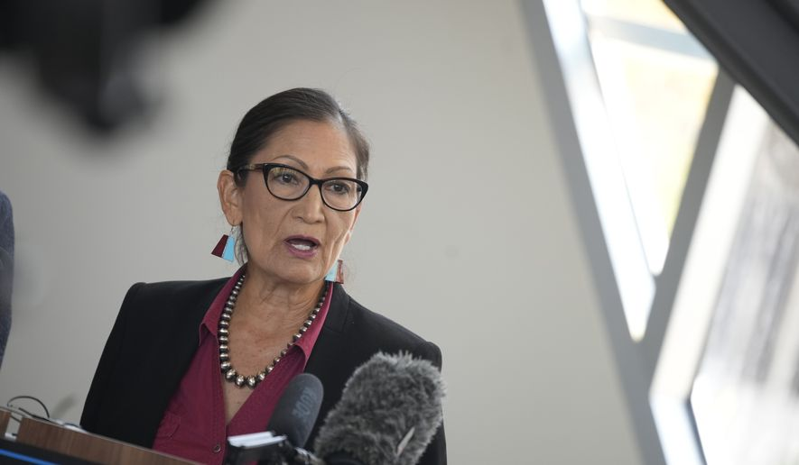 Interior Secretary Deb Haaland, speaks during a news conference after Haaland's visit to talk about federal solutions to ease the effects of the drought at the offices of Denver Water Thursday, July 22, 2021, in Denver. Haaland will make stops in two cities on Colorado's Western Slope as part of her trip to assess the effects of the drought on the Centennial State. (AP Photo/David Zalubowski) **FILE**
