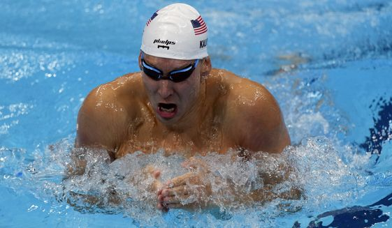 Chase Kalisz of the United Staes swims in the Men's 400m individual medley at the 2020 Summer Olympics, Sunday, July 25, 2021, in Tokyo, Japan. (AP Photo/Charlie Riedel)