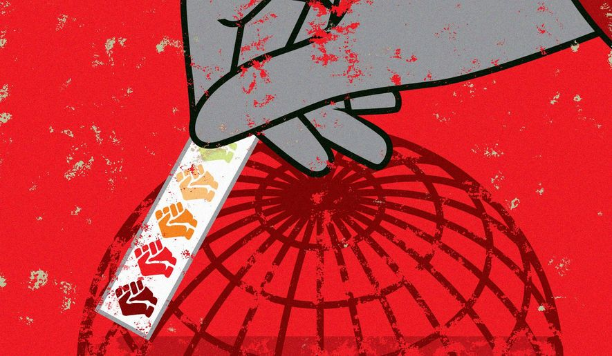 Illustration on examining the realities of socialism by Linas Garsys/The Washington Times