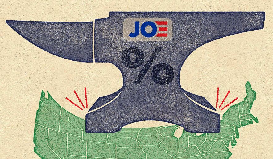 Illustration on Biden's tax-and-spend plans by Greg Groesch/The Washington Times