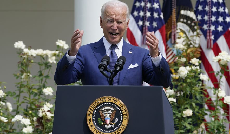 President Joe Biden speaks during an event in the Rose Garden of the White House in Washington, Monday, July 26, 2021, to highlight the bipartisan roots of the Americans with Disabilities Act and marking the law's 31st anniversary. (AP Photo/Susan Walsh)
