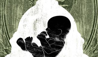 Illustration on Hyde Amendment, abortion and racism by Linas Garsys/The Washington Times