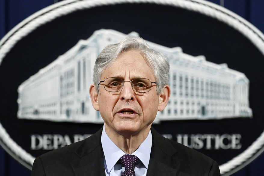In this April 26, 2021 file photo, Attorney General Merrick Garland speaks at the Department of Justice in Washington.  President Joe Biden is nominating eight new leaders for U.S. attorney positions across the country, including in the office overseeing the prosecutions of hundreds of defendants charged in the Jan. 6 Capitol insurrection. The nominees announced Monday by the White House come as the Justice Department continues to round out its leadership team under Attorney General Merrick Garland, who traveled to Chicago last week to announce an initiative to crack down on violent crime and gun trafficking. (Mandel Ngan/Pool via AP)