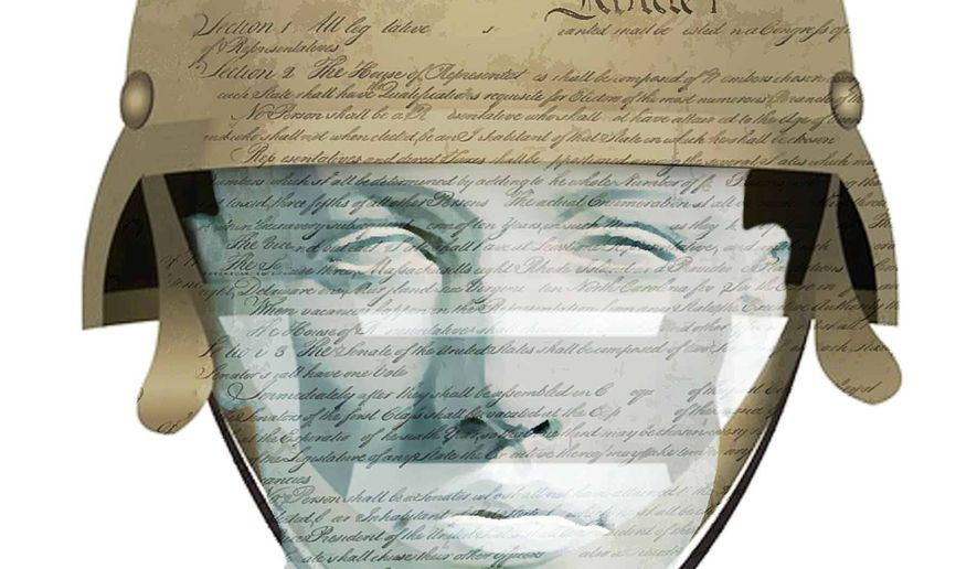 Illustration on educating military cadets on civics and the Constitution by Alexander Hunter/The Washington Times