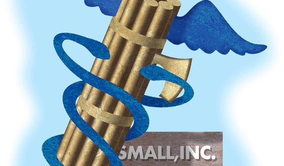 Illustration on government health care insurance policy and small business by Alexander Hunter/The Washington Times