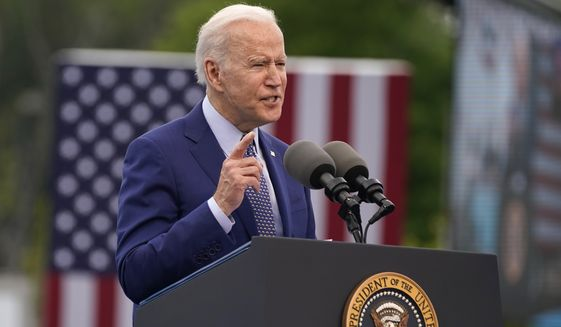 President Joe Biden speaks during a rally at Infinite Energy Center, to mark his 100th day in office, Thursday, April 29, 2021, in Duluth, Ga. (AP Photo/Evan Vucci, File)