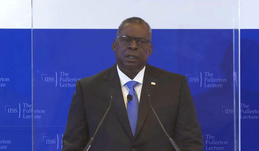In this image from video provided by IISS, U.S. Defense Secretary Lloyd J. Austin delivers a speech during the 40th IISS Fullerton Lecture Tuesday, July 27, 2021 in Singapore. Austin decried the actions of Myanmar's military rulers as unacceptable on Tuesday, while urging a regional bloc to keep demanding an end to violence. Austin also applauded the Association of Southeast Asian nations for its efforts on the issue, which included forging a consensus with Myanmars military leader in April. (IISS via AP)