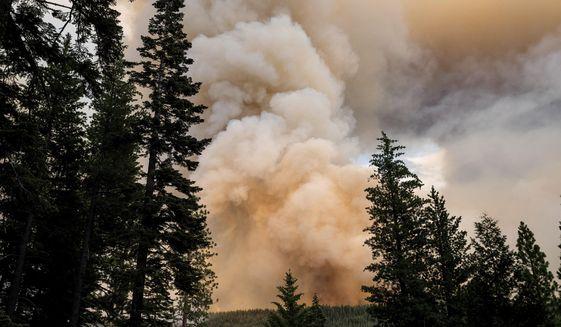 The Dixie Fire burns in Lassen National Forest, Calif., near Jonesville on Monday, July 26, 2021. (AP Photo/Noah Berger)
