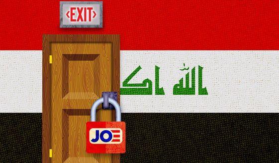 Iraq Exit Shut Off Illustration by Greg Groesch/The Washington Times