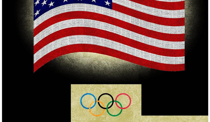 Illustration on America and the Olympics by Alexander Hunter/The Washington Times