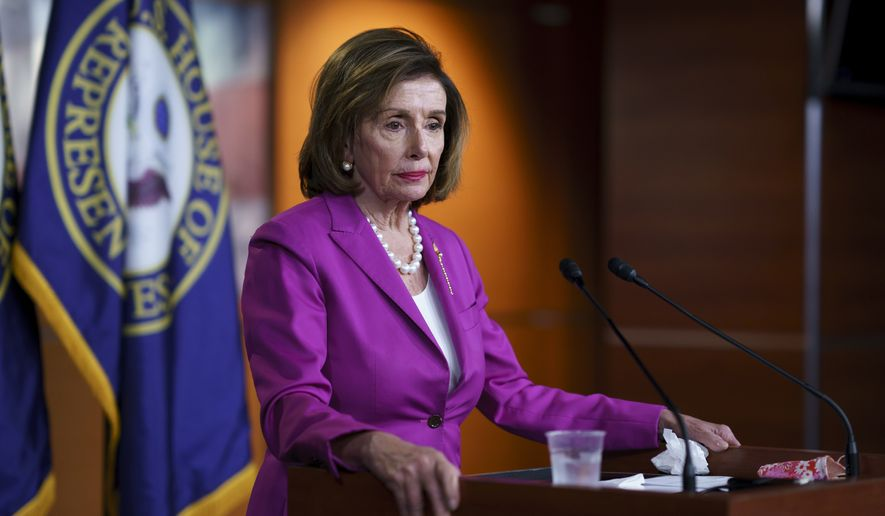 Speaker of the House Nancy Pelosi, D-Calif., talks to reporters at the Capitol in Washington, Wednesday, July 28, 2021, the day after the first hearing by her select committee on the Jan. 6 attack. (AP Photo/J. Scott Applewhite)