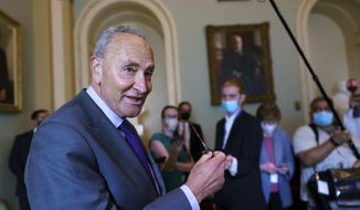 Senate Majority Leader Chuck Schumer, D-N.Y., updates reporters on the latest action in the infrastructure negotiations between Republicans and Democrats, at the Capitol in Washington, Wednesday, July 28, 2021. (AP Photo/J. Scott Applewhite)