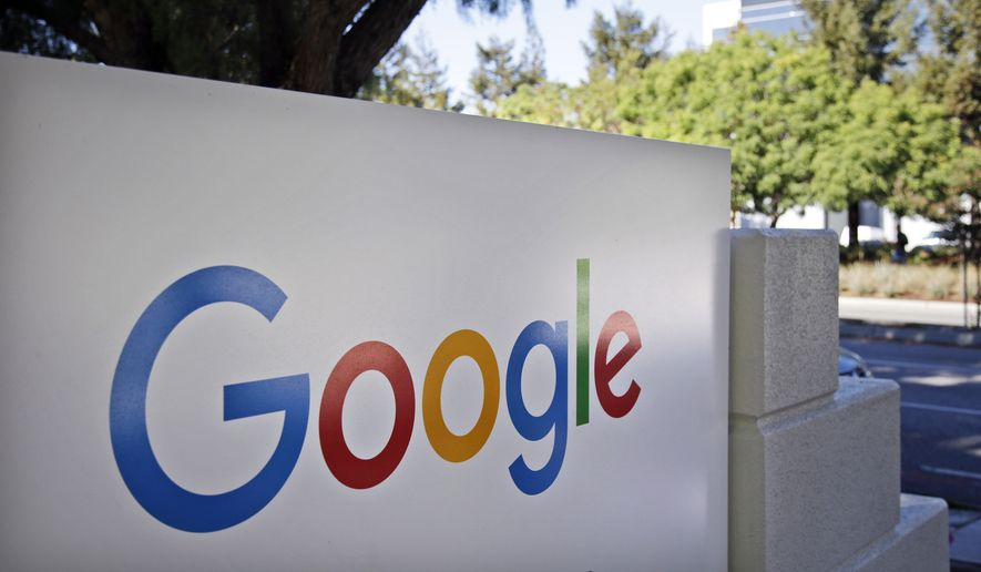 In this Oct. 20, 2015, file photo, signage sits outside Google headquarters in Mountain View, Calif. (AP Photo/Marcio Jose Sanchez, File)