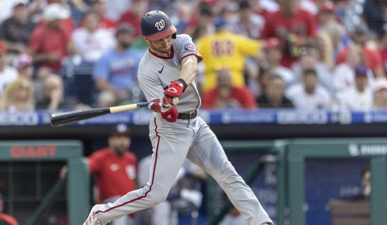 Washington Nationals' Trea Turner (7) in action during a baseball game against the Philadelphia Phillies, Tuesday, July 27, 2021, in Philadelphia. (AP Photo/Laurence Kesterson)  **FILE**