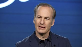 """In this Jan. 16, 2020, file photo, Bob Odenkirk speaks at the AMC's """"Better Call Saul"""" panel during the AMC Networks TCA 2020 Winter Press Tour in Pasadena, Calif. Odenkirk collapsed on the show's New Mexico set Tuesday, July 27, 2021, and had to be hospitalized. (Photo by Willy Sanjuan/Invision/AP, File)"""