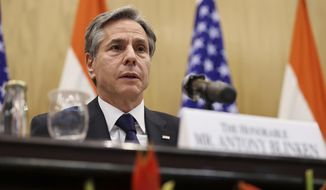 U.S. Secretary of State Antony Blinken speaks during a joint news conference with Indian Foreign Minister SubrahmanyamJaishankar at Jawaharlal Nehru Bhawan (JNB) in New Delhi, India, Wednesday, July 28, 2021.  (Jonathan Ernst/Pool Photo via AP)  **FILE**