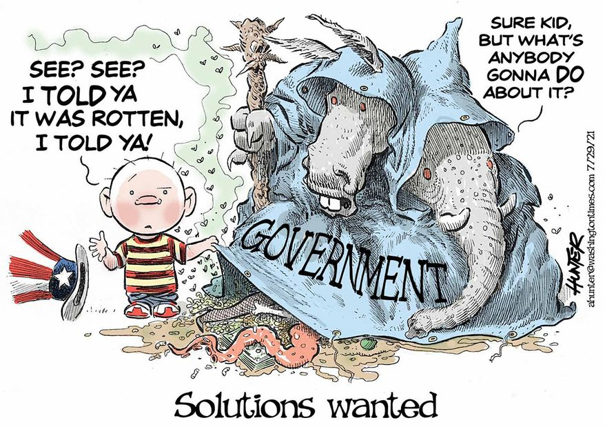 Illustration by Alexander Hunter for The Washington Times (published July 29, 2021)