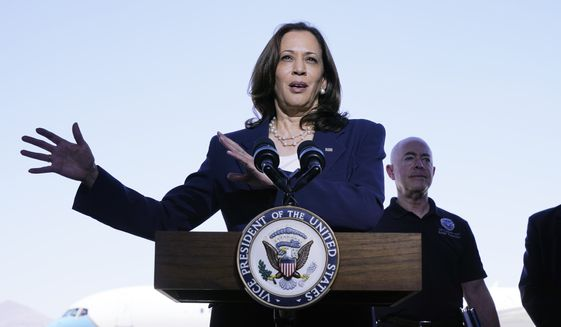 Vice President Kamala Harris talks to the media, Friday, June 25, 2021, after her tour of the U.S. Customs and Border Protection Central Processing Center in El Paso, Texas. AP Photo/Jacquelyn Martin) ** FILE **