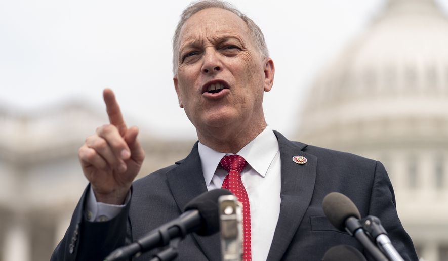 Rep. Andy Biggs, R-Ariz., chairman of the House Freedom Caucus, speaks at a news conference on Capitol Hill in Washington, Thursday, July 29, 2021. (AP Photo/Andrew Harnik) ** FILE **