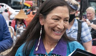 U.S. Interior Secretary Deb Haaland is seen on Capitol Hill in Washington, in this file photo from Thursday, July 29, 2021. (AP Photo/Jose Luis Magana) **FILE**