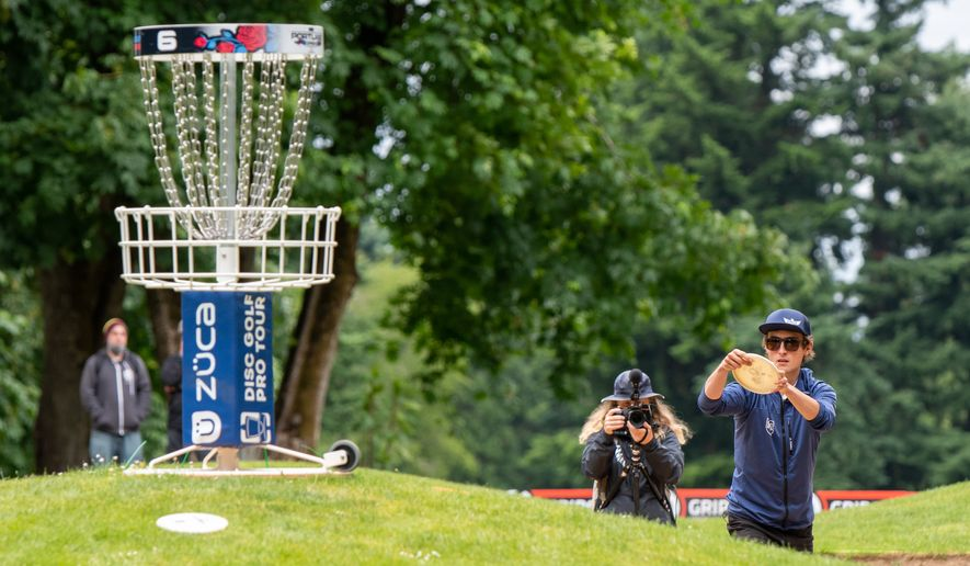 Eagle McMahon playing in last month's Portland Open. The Boulder, Colorado, native has won four tournaments this year and has earned more than $200,000 in his young career competing on the fast-growing disc golf circuit. Photo courtesy of the Disc Golf Pro Tour.