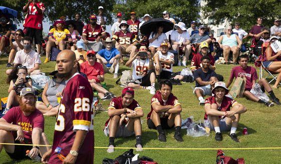 Washington Football Team fans watch drills during NFL football practice in Richmond, Va., Wednesday, July 28, 2021. (AP Photo/Ryan M. Kelly)