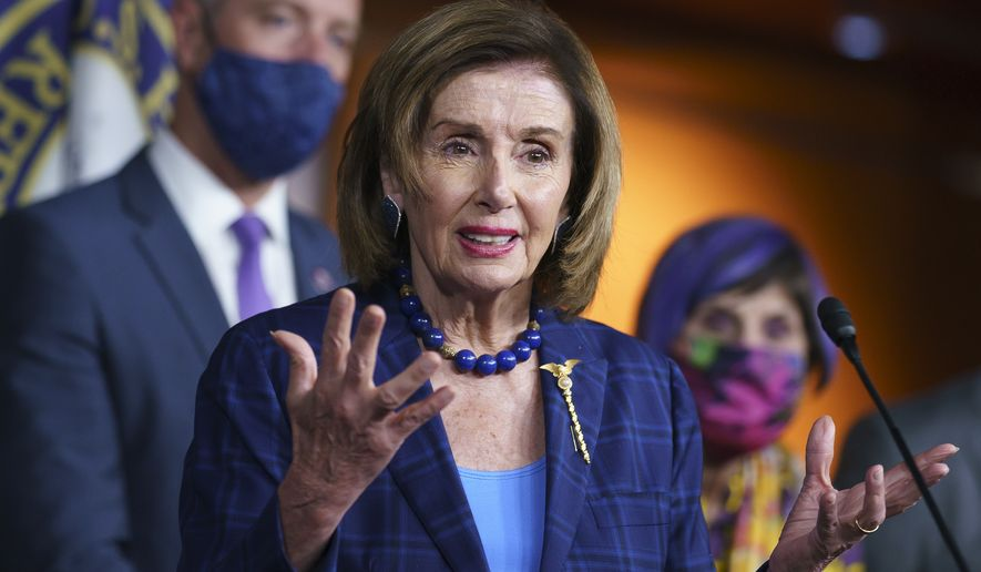 Speaker of the House Nancy Pelosi, D-Calif., and Democratic leaders discuss their legislative agenda, including voting rights, public health, and infrastructure, during a news conference at the Capitol in Washington, Friday, July 30, 2021. (AP Photo/J. Scott Applewhite)  **FILE**