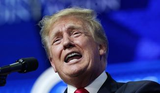 In this Saturday, July 24, 2021, photo, former President Donald Trump speaks on a variety of topics to supporters at a Turning Point Action gathering in Phoenix. (AP Photo/Ross D. Franklin) **FILE**
