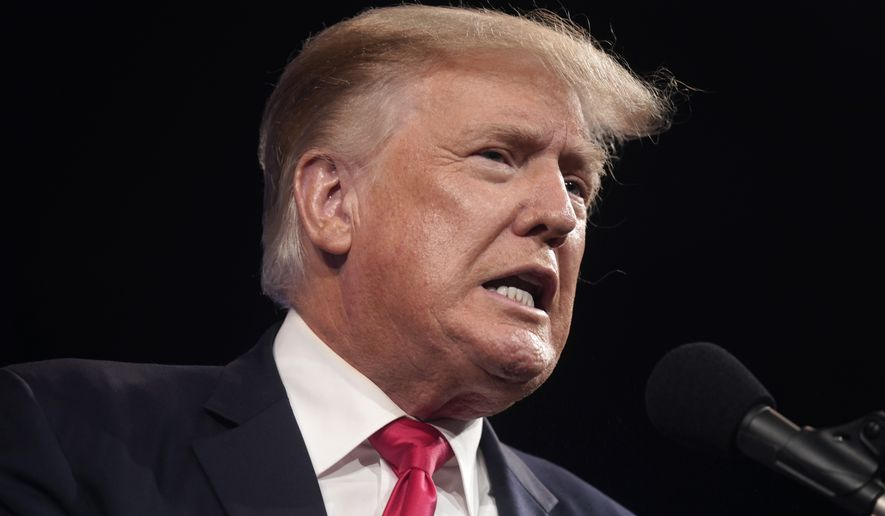 In this July 11, 2021, photo, former President Donald Trump speaks at the Conservative Political Action Conference (CPAC) in Dallas, Texas. (AP Photo/LM Otero) ** FILE **