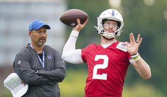 Indianapolis Colts quarterback Carson Wentz throws during practice at the NFL team's football training camp in Westfield, Ind., Thursday, July 29, 2021. (AP Photo/Michael Conroy) **FILE**