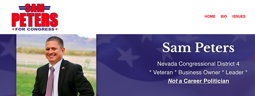 Sam Peters is shown here in a screen capture from his congressional campaign website. The Nevada Republican is running against Democratic incumbent Rep. Steven Horsford in a second bid to return a Democratic-leaning Nevada district back to the GOP. (https://www.sampeters4congress.com/)