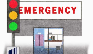 Illustration on United Health Care's new Emergency room policy by Alexander Hunter/The Washington Times