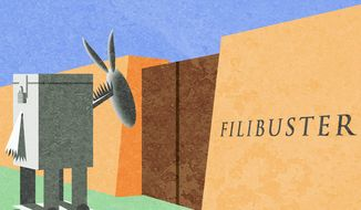 Illustration on Democrats, elections and designs on the Senate filibuster by Alexander Hunter/The Washington Times
