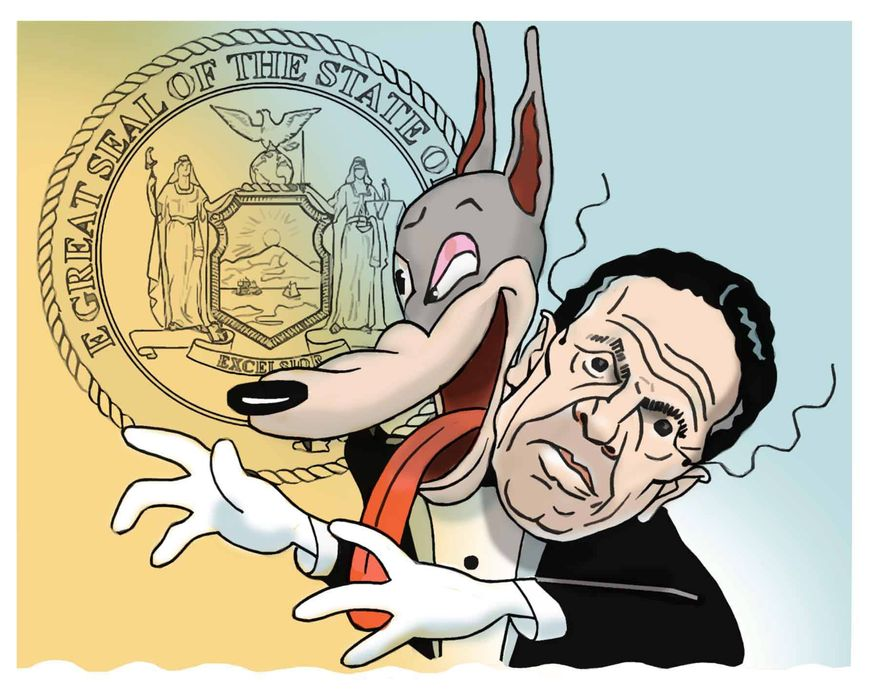 Illustration on Andrew Cuomo charged with sexual harassment by Alexander Hunter/The Washington Times