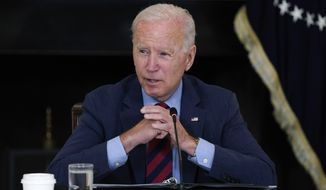 President Joe Biden speaks during a meeting with Latino leaders, in the State Dining Room of the White House, Tuesday, Aug. 3, 2021, in Washington. (AP Photo/Evan Vucci)