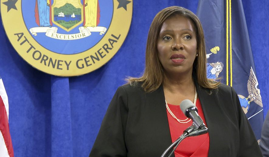 New York State Attorney General Letitia James speaks at a press conference, Tuesday, Aug. 3, 2021,  in New York. An investigation found that New York Gov. Andrew Cuomo sexually harassed multiple women in and out of state government and worked to retaliate against one of his accusers, James announced Tuesday.  (AP Photo/Ted Shaffrey)
