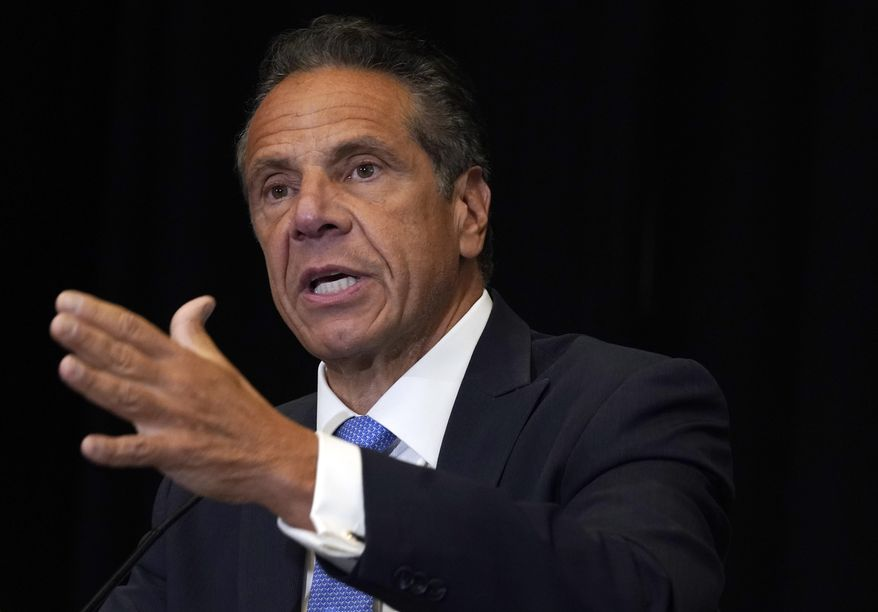 New York Gov. Andrew Cuomo speaks during a news conference at New York's Yankee Stadium, Monday, July 26, 2021. Investigators conducting an inquiry into sexual harassment allegations against Cuomo questioned him for 11 hours when he met with them last month, The New York Times reported Monday, Aug. 2. (AP Photo/Richard Drew, File)