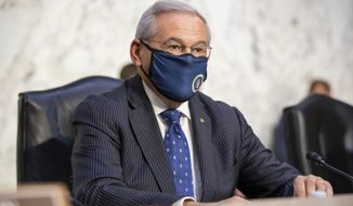 Sen. Bob Menendez, D-N.J., arrives at a Senate Foreign Relations Committee on Capitol Hill in Washington, Wednesday, Aug. 4, 2021. (AP Photo/Amanda Andrade-Rhoades) **FILE**