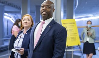 In this file photo, Sen. Tim Scott, R-S.C., speaks to reporters on Capitol Hill in Washington, on Wednesday, Aug. 4, 2021. (AP Photo/Amanda Andrade-Rhoades)  **FILE**