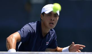 Brandon Nakashima competes against Daniel Evans, of England, during a match in the Citi Open tennis tournament, Wednesday, Aug. 4, 2021, in Washington. (AP Photo/Nick Wass)