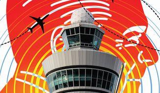 Reagan's firing of striking air traffic controllers illustration by Linas Garsys / The Washington Times