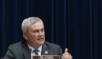 In this Thursday July 29, 2021, photo, Rep. James Comer, R-Ky., the House Committee on Oversight and Reform's ranking member, speaks during a hearing on voting rights in Texas in Washington. (AP Photo/Jacquelyn Martin) **FILE**