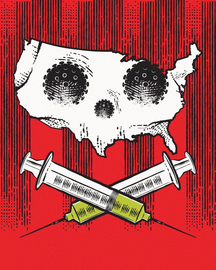 Deadly COVID-19 Vaccine Strategy Illustration by Linas Garsys/The Washington Times