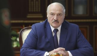 Belarusian President Alexander Lukashenko speaks to high level military officials in Minsk, Belarus, Thursday, Aug. 5, 2021. (Nikolay Petrov/Pool Photo via AP)